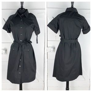 Ann Klein Stretch Shirt Dress Belted